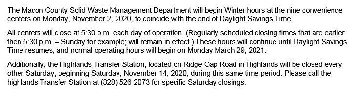 Winter Hours of Operation 2020/2021