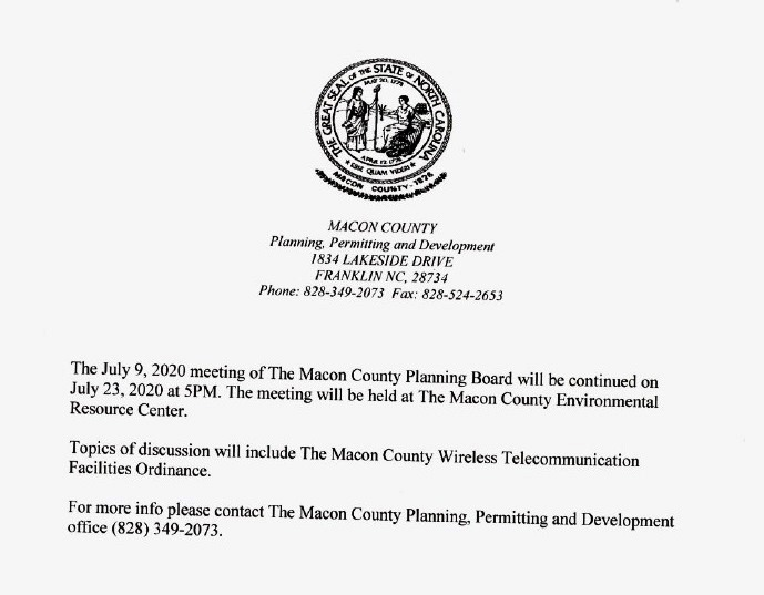 macon county nc planning Dept.
